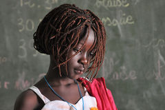 African girl. One girl in a school in a little African village Royalty Free Stock Photo