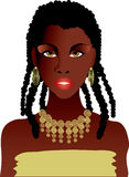 African girl. Beautiful african girl in gold necklace stock illustration