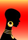The African girl. On a red background Stock Illustration