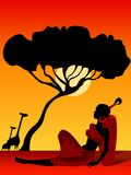 The African girl. On a color background Royalty Free Illustration