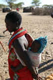 African girl and baby from Samburu Tribe in Kenya Royalty Free Stock Photo