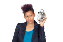 African girl with a big clock Royalty Free Stock Image
