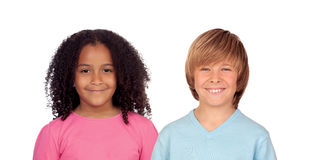 African girl and Caucasian boy Stock Photography