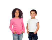 African girl and Caucasian boy Stock Photo