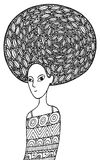 African girl coloring page in boho fashion style Stock Photography