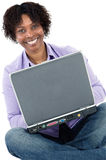 African girl with computer Royalty Free Stock Image