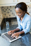 African girl computer Royalty Free Stock Photography