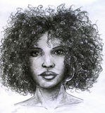 African girl face. African girl with curly hair and big earrings. Pencil drawing, sketch Stock Photography