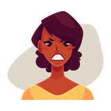 African girl face, angry facial expression Stock Image