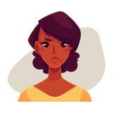 African girl face, angry facial expression Stock Photos