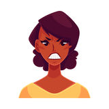 African girl face, angry facial expression Royalty Free Stock Photography