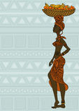 African girl with fruit basket on the head. Illustration of African girl with fruit basket on the head on an ethnic patterned background vector illustration