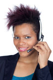 African girl with headphone Royalty Free Stock Photography