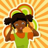 African girl with headphones. Listening to music vector illustration