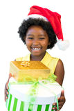 African girl holding presents. stock photos