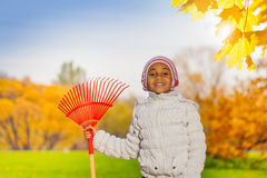 African girl holding red rake in the autumn park Royalty Free Stock Photos