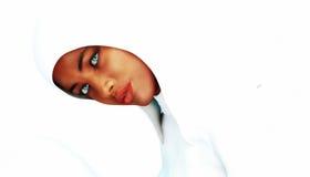 African Girl. Hooded Girl on white background Stock Photo