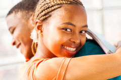 African girl hugging boyfriend Stock Photos