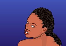 African girl - Illustration. Illustration of a african woman, head, blue background Royalty Free Stock Photo