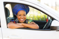 African girl new car Stock Photo