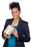 African girl with a present Stock Images