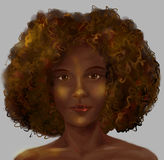 African girl s portrait. Portrait of beautiful African girl with gougeous hair and bare shoulders. Digital art Royalty Free Stock Photography