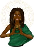 African girl showing heart by fingers. On the background with a folk ornament Stock Photography