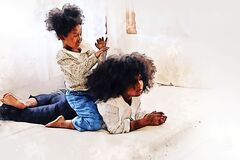 African girl siblings are having fun and tease each other in the bedroom during the holidays on watercolor illustration .