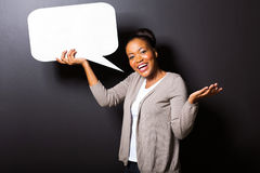 African girl speech bubble Stock Photography