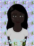 African girl with straight hair in flowers, vector illustration vector illustration