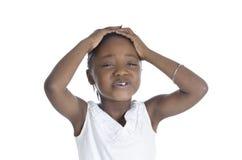 African girl in stress. Studio Shot Royalty Free Stock Photo