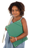 African girl student with folder and backpack Royalty Free Stock Images