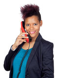African girl talking on phone stock photography