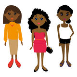 African girl. Three African girls. Other costumes. Different hairstyles Stock Images