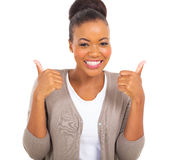 African girl thumbs up Royalty Free Stock Images