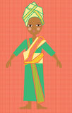 African girl in traditional colorful costume. Children's illustration of a beautiful young African girl in a retro traditional costume Stock Photo