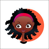 African girl. Vector cartoon image of face smiling cute African girl with black curly hair and a headband royalty free illustration
