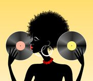 African girl with vinyl Stock Photography