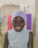 African girl wearing a cotton cap, ten years old Royalty Free Stock Photos