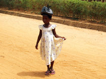 African girls with bag on the head Royalty Free Stock Photos