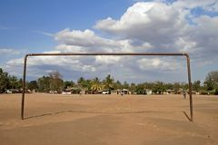 African goal 1. Soccer goal on dirst pitch, Tanzania Stock Photography