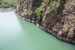 African Gorge. A gorge down the side of a cliff over a popular river in South Africa Stock Photo