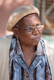 African granny. Old african granny with glasses, outdoor shot Stock Photography
