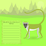 African Green Monkey. Against Symplistic Nature Background rand Poster with Space for Interesting Facts about rthis Animal. Educational Card for Childrens Stock Image