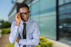 African guy with his arms crossed Stock Image