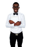 African guy holding spiral notebook Royalty Free Stock Images