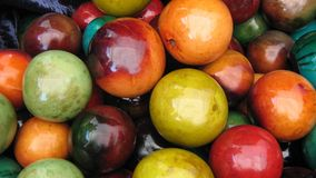 African hand carved & painted gourds & monkey apples Stock Photography