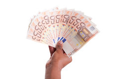African hand holding money Stock Images