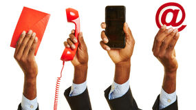 African hand showing customer service contact. African hand showing means of contact with customer service Stock Image