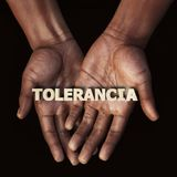 African hand with text Tolerancia Royalty Free Stock Photography